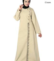 MyBatua Cream Cotton Arabian Dailywear Islamic Muslim Long Abaya With Hijab