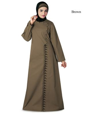 MyBatua Brown Cotton Arabian Dailywear Islamic Muslim Long Abaya with Hijab