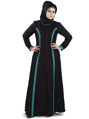MyBatua Black Viscose Arabian Dailywear Islamic Muslim Long Abaya With Hijab