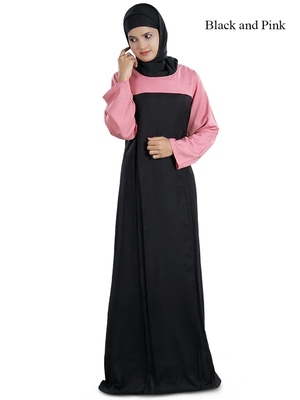 MyBatua Magenta Viscose Arabian Dailywear Islamic Muslim Long Abaya With Hijab