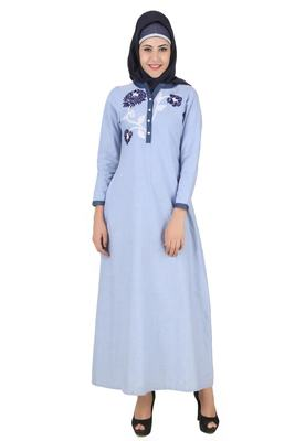 MyBatua Blue Cotton Arabian Dailywear Islamic Muslim Long Abaya With Hijab