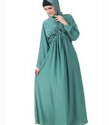 MyBatua Teal Polyester Arabian Dailywear Islamic Muslim Long Abaya with Hijab