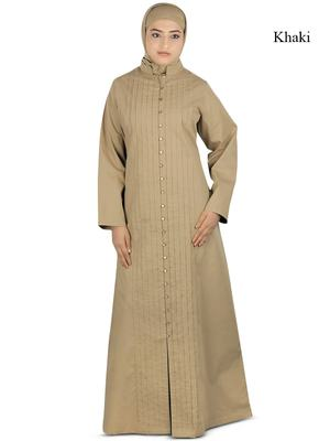 MyBatua Beige Poplin Arabian Dailywear Islamic Muslim Long Abaya With Hijab