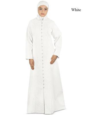 MyBatua White Poplin Arabian Dailywear Islamic Muslim Long Abaya With Hijab