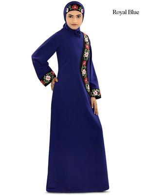 MyBatua Blue Polyester Arabian Dailywear Islamic Muslim Long Abaya with Hijab