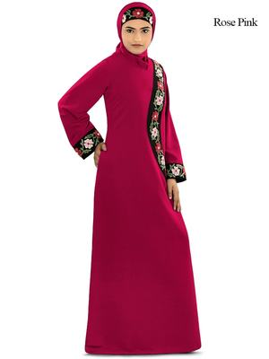 MyBatua Pink Polyester Arabian Dailywear Islamic Muslim Long Abaya With Hijab