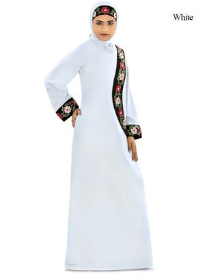 MyBatua White Polyester Arabian Dailywear Islamic Muslim Long Abaya With Hijab