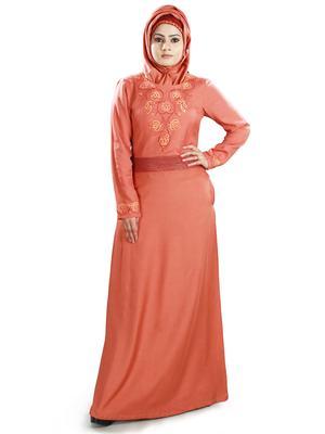 MyBatua Orange Viscose Arabian Dailywear Islamic Muslim Long Abaya With Hijab