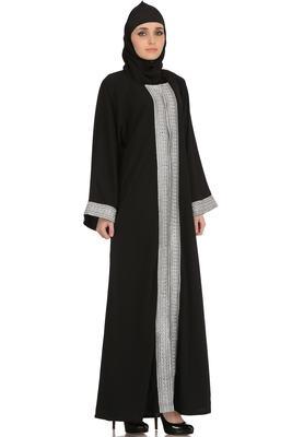 MyBatua Black Polyester Arabian Dailywear Islamic Muslim Long Abaya With Hijab