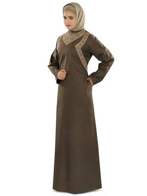 MyBatua Brown Cotton Arabian Dailywear Islamic Muslim Long Abaya with Hijab