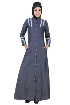 MyBatua Grey Denim Arabian Dailywear Islamic Muslim Long Abaya with Hijab