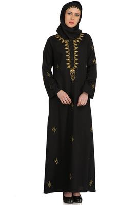 MyBatua Black Cotton Arabian Dailywear Islamic Muslim Long Abaya With Hijab