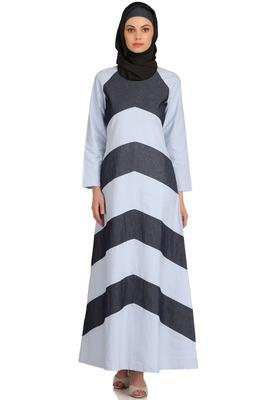 MyBatua Blue Chambray Arabian Dailywear Islamic Muslim Long Abaya With Hijab