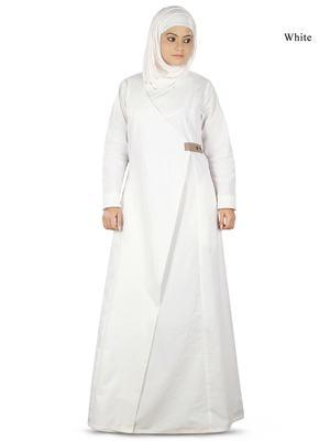 MyBatua White Cotton Arabian Dailywear Islamic Muslim Long Abaya with Hijab