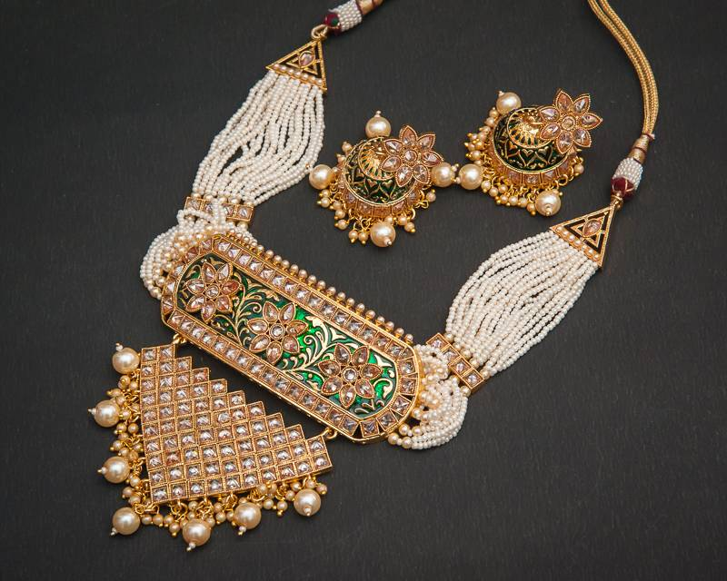 Buy Elite Padmavat Fine Ad Meena Chokar Necklace Set Online