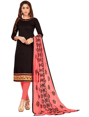 Black embroidered cotton salwar with dupatta