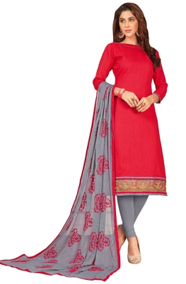 74a08485c2 Red embroidered cotton salwar with dupatta - MANVAA - 2542355