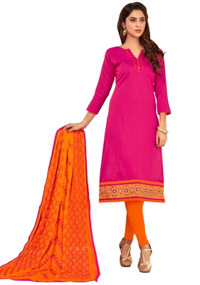 Pink embroidered cotton salwar with dupatta