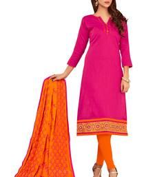 Buy Pink embroidered cotton salwar with dupatta cotton-salwar-kameez online