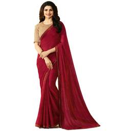 Buy Maroon hand woven georgette saree with blouse bollywood-saree online