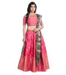 Buy Pink woven silk semi stitched lehenga ghagra-choli online