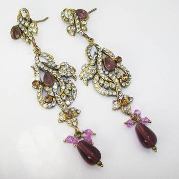 Victorian Floral Earring Violet Shady