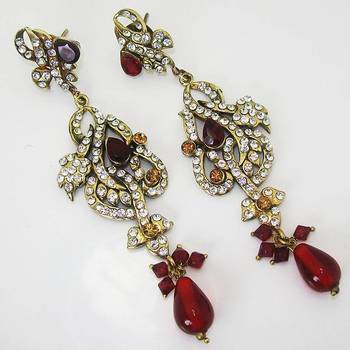 Victorian Floral Earring Vibrant Red