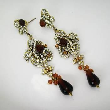 Victorian Floral Earring Dark Copper