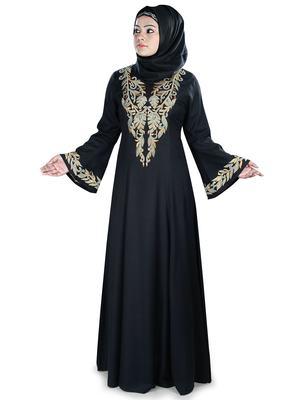 MyBatua Black Viscose Arabian Style Islamic Wear for Women Muslim Abaya With Hijab