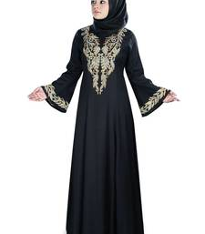 MyBatua Black Viscose Arabian Style Islamic Wear for Women Muslim Abaya With Hijab