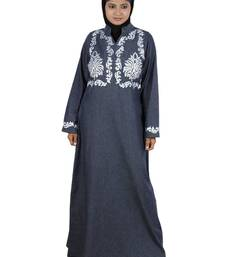 MyBatua grey Denim Arabian Style Islamic Wear for Women Muslim Abaya With Hijab