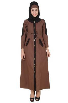 MyBatua Brown Cotton Arabian Style Islamic Wear for Women Muslim Abaya With Hijab