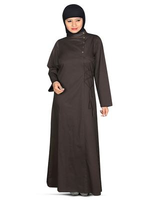 MyBatua Black Cotton Arabian Style Islamic Wear For Women Muslim Abaya With Hijab