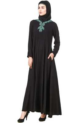 MyBatua Black Rayon Arabian Style Islamic Wear For Women Muslim Abaya With Hijab