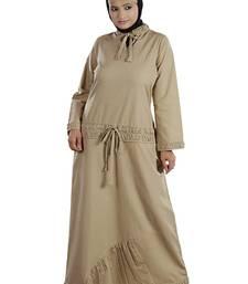 MyBatua Beige Cotton Arabian Style Islamic Wear For Women Muslim Abaya With Hijab