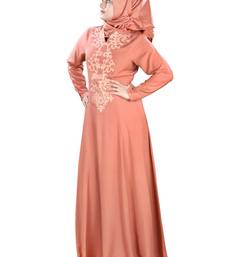 MyBatua Peach Viscose Arabian Style Islamic Wear For Women Muslim Abaya With Hijab