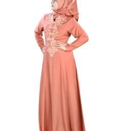 MyBatua Peach Viscose Arabian Style Islamic Wear for Women Muslim Abaya With Hijab