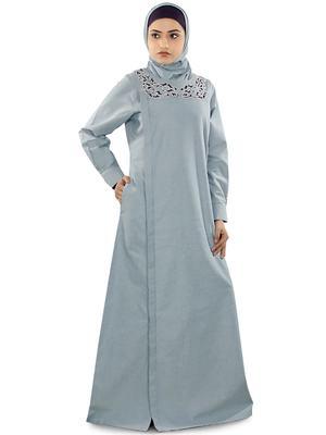 MyBatua Blue Chambray Arabian Style Islamic Wear For Women Muslim Abaya With Hijab