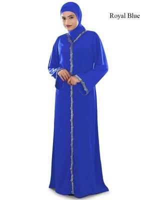 MyBatua Blue Polyester Arabian Style Islamic Wear For Women Muslim Abaya With Hijab