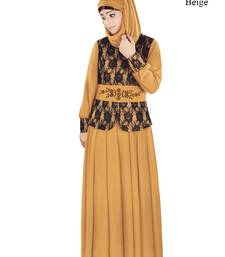 MyBatua Beige Polyester Arabian Style Islamic Wear For Women Muslim Abaya With Hijab