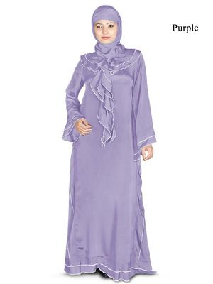 MyBatua Purple Polyester Arabian Style Islamic Wear For Women Muslim Abaya With Hijab