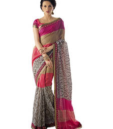 Buy multicolor printed silk saree with blouse printed-saree online