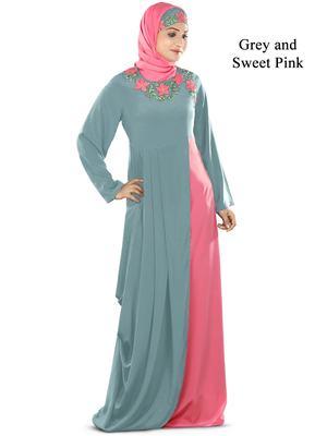 MyBatua Multicolor Polyester Arabian Style Islamic Wear For Women Muslim Abaya With Hijab