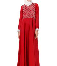 MyBatua Red Viscose Arabian Style Islamic Wear For Women Muslim Abaya With Hijab