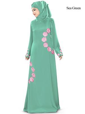 MyBatua Green Polyester Arabian Style Islamic Wear For Women Muslim Abaya With Hijab