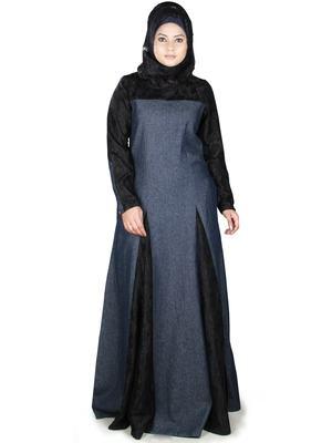 MyBatua Multicolor Denim Arabian Style Islamic Wear For Women Muslim Abaya With Hijab