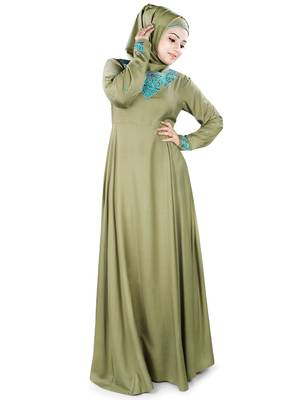 MyBatua Green Rayon Arabian Style Islamic Wear for Women Muslim Abaya With Hijab