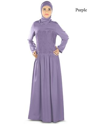 MyBatua Purple Poly Crepe Arabian Style Islamic Wear For Women Muslim Abaya With Hijab