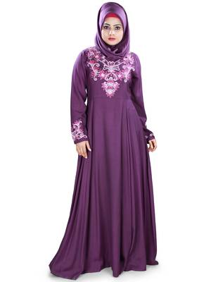 MyBatua Purple Viscose Arabian Style Islamic Wear For Women Muslim Abaya With Hijab