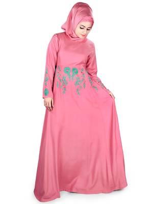 MyBatua Pink Viscose Arabian Style Islamic Wear For Women Muslim Abaya With Hijab